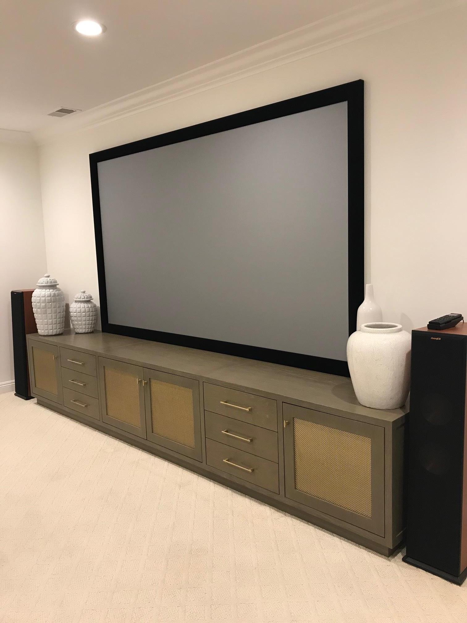 Long Entertainment Console with brass panels