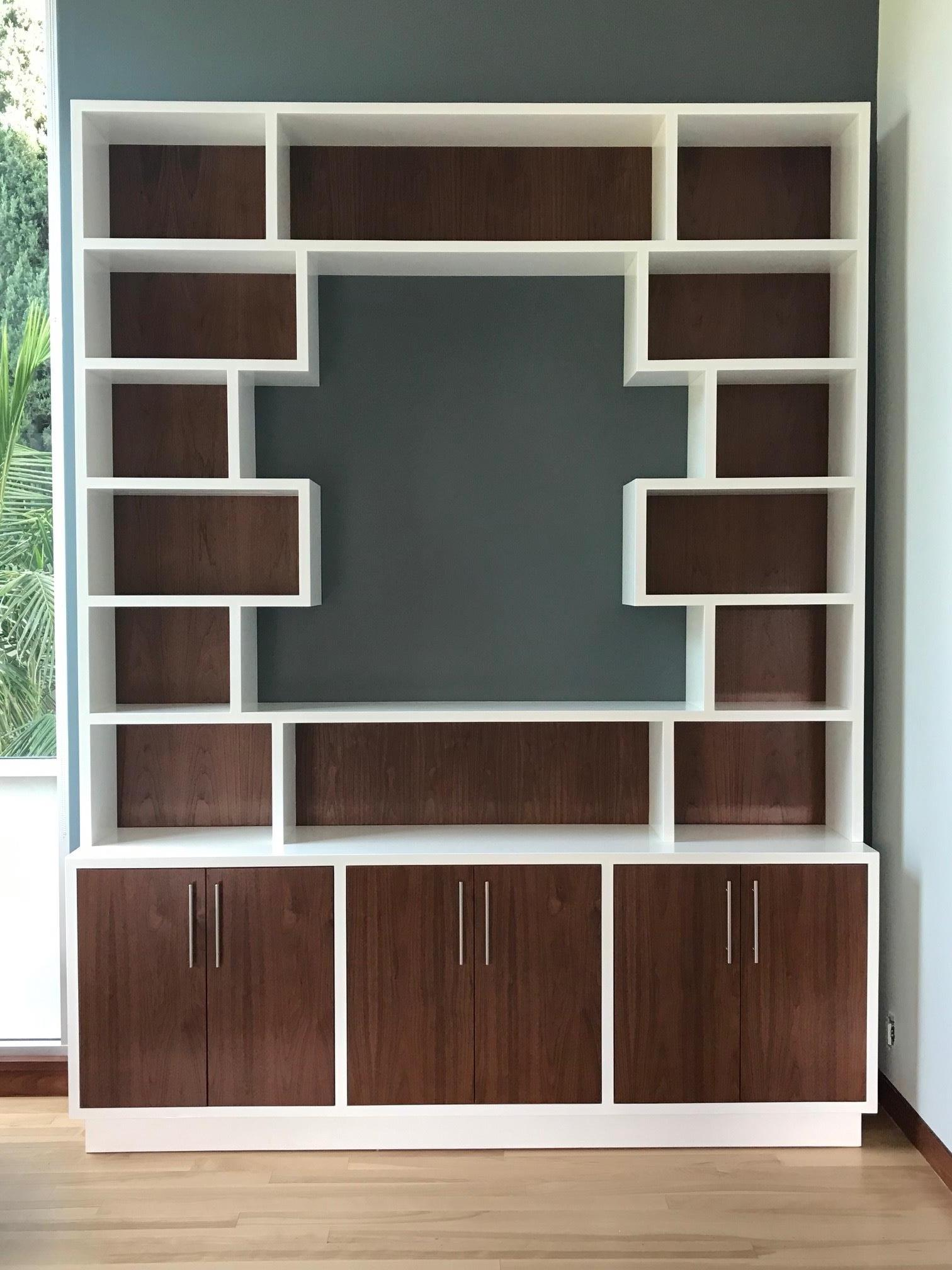 Walnut and White Wall Unit with Cut Out Center