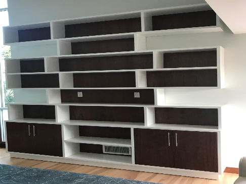 Walnut and White Wall Unit